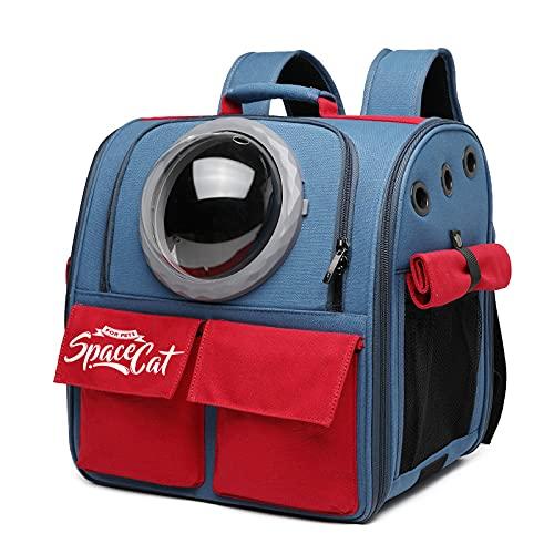 Mochila para Mascotas, Bolsa de Lona de Gran Capacidad para Que los Gatos salgan, Mochila portátil para Perros y Gatos, Adecuada para Perros y Gatos de Menos de 10 Libras, Rojo + Azul