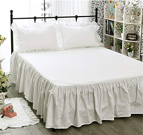 無地 オフホワイト 綿100%ベッドカバー/ベッドスカート