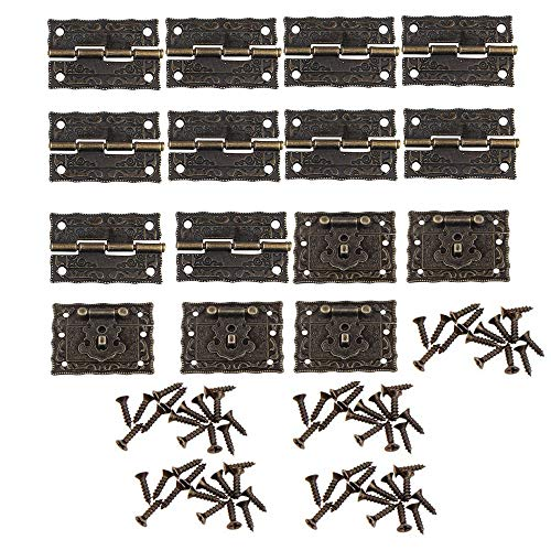 5 Pcs Antiguo Repujado Hasp Latch Lock Muebles Decorativo Armario Joyero Latch Lock Con 10Pcs Mini Bisagra y Tornillos