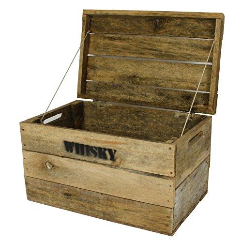 haus-garten-versand.de Whisky Holzkiste, mittel (31x50x30cm), Vintage, Weinkiste, Obstkiste mit Deckel und Aufdruck