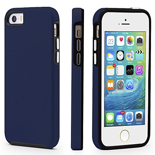 CellEver Compatible with iPhone 5/5s/SE (2016 Edition) Case, Dual Guard Protective Shock-Absorbing Scratch-Resistant Rugged Drop Protection Cover Designed for iPhone 5/5S/SE 2016 (Navy Blue)