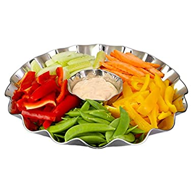 Elegant 2 Piece Stainless Steel Chip And Dip Platter – Party Serving Bowl – Ideal For Chips And Salsa Appetizers, Salad, Party Bowl, Relish Dish,