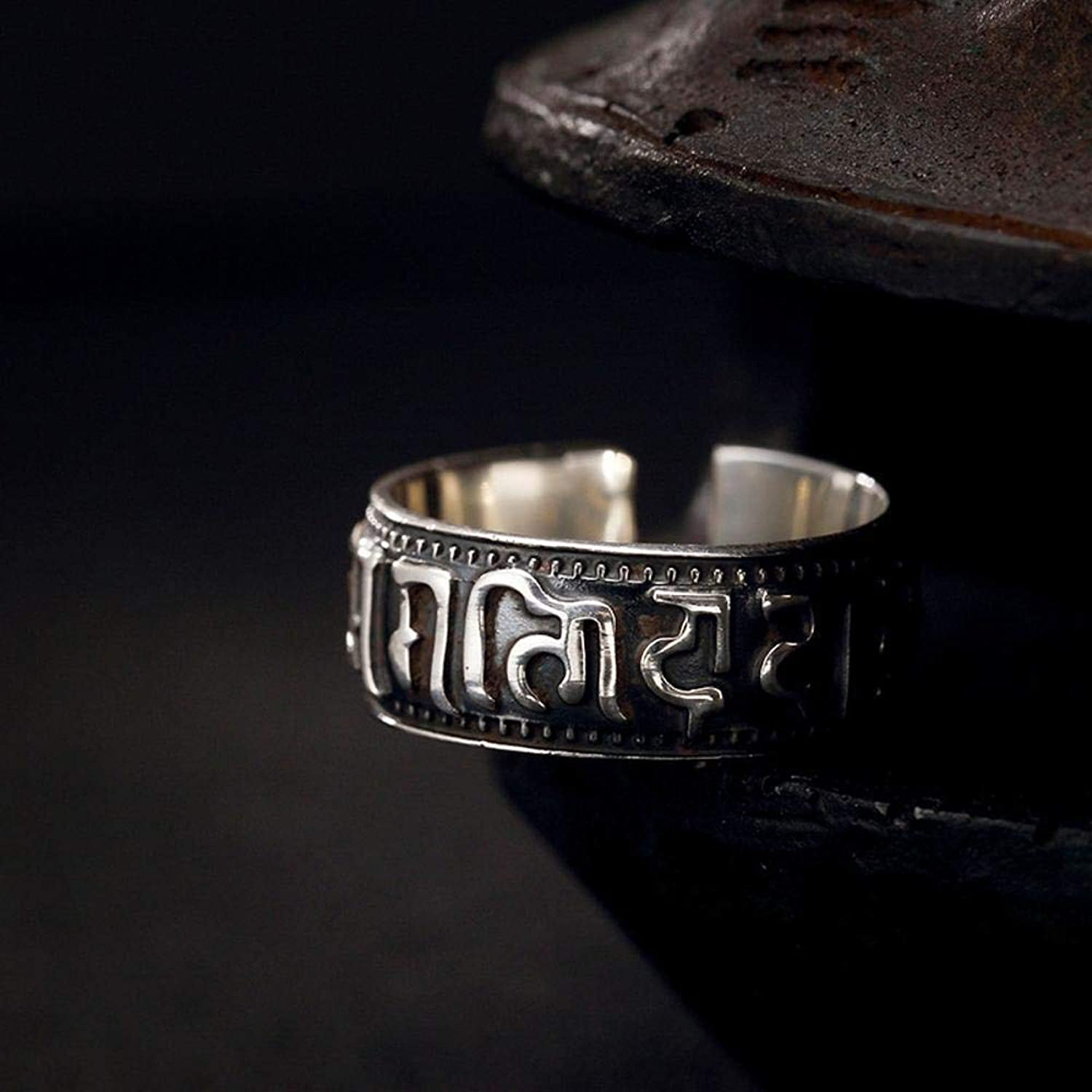 DTZH Rings Jewellery RingS999 Sterling Silver Retro Thai Silver Man Metal Punk Wind Buddhist sixWord Mantra Ring Give it to Dear People