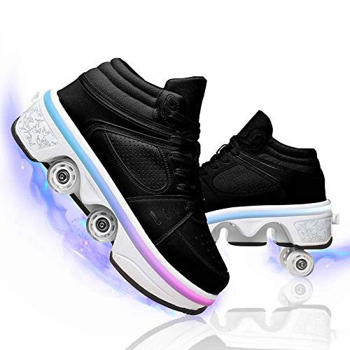 Multifuncionales Led Deformación Polea Zapatos Hombres Mujeres Patines De Ruedas Recreación Al Aire Libre Zapatos con Luces Carga USB,High Top with Light Black,41