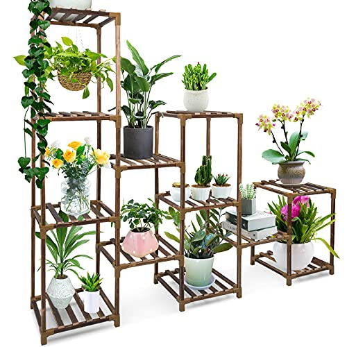 Geegoods Plant Stand for Indoor Plants, Large Multi Tiered Plant Stand with 12 Plant Holders, Tall Plant Stand Flower Display Rack for Corner Garden Patio Balcony Living Room