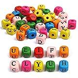 200pcs Perline dell'Alfabeto Legno, 10mm Perline Lettere Legno, Perline Colorati Alfabeto, Perle Alfabeto in Legno ABC Puzzle per Bambini/Gioielli/collane/obracciali Fai da Te