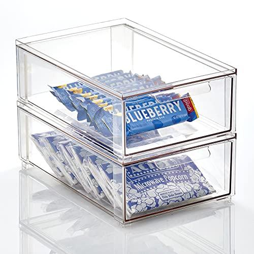 mDesign Caja de plástico transparente – Organizador de armarios apilable y plano con cajón extraíble – Caja para guardar zapatos, accesorios y otros objetos – Juego de 2 – transparente