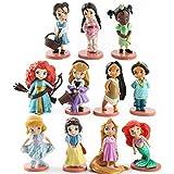 Figuras de dibujos animados 11 piezas Blancanieves Mérida Princesa Figuras de acción Mulan Sirena Tiana Jazmín Muñeca Anime Figuritas de Juguete para Niños Modelo de Regalo (Color: Blanco)