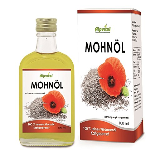 Mohnöl 100% rein kaltgepresst - Vegan - 100ml - Gut für Haut und Haare - Cholesterinspiegel -...