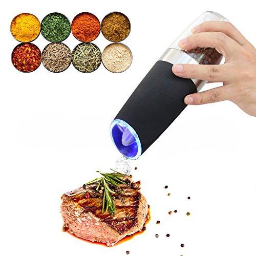 Woopower Gravity Elektrische Salz-/Pfeffermühle, automatisch, batteriebetrieben, verstellbare Mahlgrad, blaues LED-Licht, hochwertige elektronische Pfeffermühle
