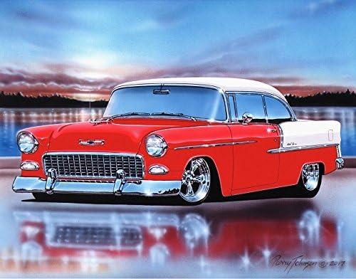 Amazon Com 1955 Chevy Bel Air 2 Door Hardtop Hot Rod Car Art Print Red 11x14 Poster Posters Prints