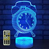 Alarm Clock Abstractive 3D Optical Illusion Model Visual Night Light 7 Color Change Touch Remote Switch with Timer Room Decor Desk Lamp for Holiday Birthday Gift