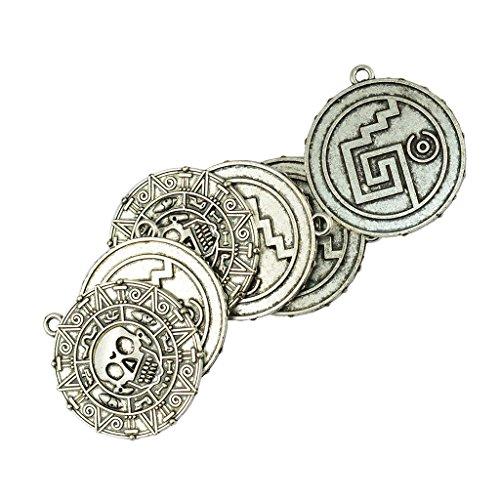 Milageto Colgante para collar con colgante en forma de círculo pequeño con medalla de 6 piezas para la fabricación de collares Fai-da-Te