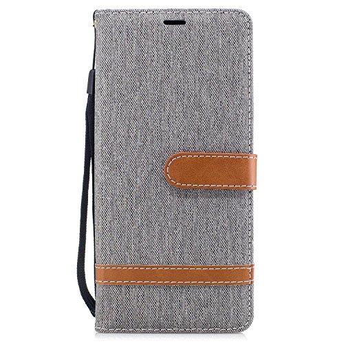 NEXCURIO Funda para Galaxy Note8, Funda Móvil con Soporte Cartera para Tarjetas y Cierre Magnetico Antigolpes Carcasa Cuero para Samsung Galaxy Note 8 - BFE102124 Gris