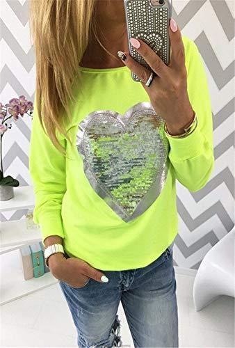 YDMZMS Dames-sweatshirt, met pailletten, lange mouwen, hart, pullovers, joggingpak, maat M, groen.