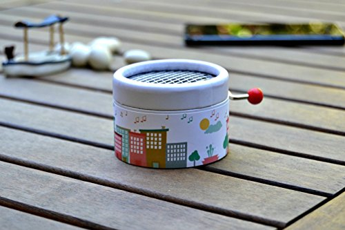 """Little hand cranked music box""""City of music"""" with the song You are my sunshine in a gift packaging"""