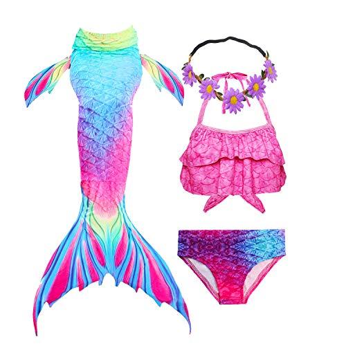 GALLDEALS Meerjungfrau Schwanz mit Meerjungfrau Badeanzug Schwanzflosse Zum Schwimmen Kostüm Für Kinder Mädchen (Monoflosse Nicht enthalten)
