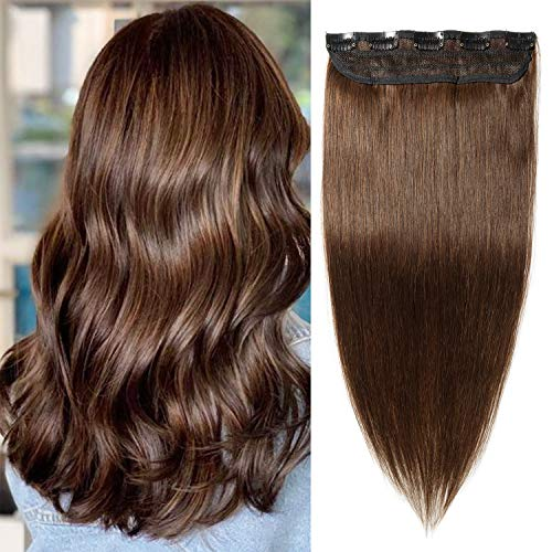 S-noilite 20inch Wavy One Piece Clip in Extensions Human Hair Curly 5 Clips Thick 3/4 Full Head Clip on Hair Extensions Long for Women #4 Medium Brown