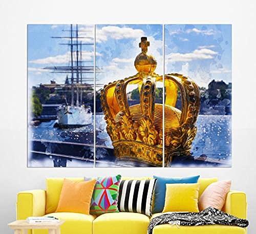 Kanvas Målning Väggkonst Bild 3 Stycken Väggkonst Stockholm. Inramad Modern Tryckt Bild Väggkonst Hem Kontor Sovrum Dekor 3 Panel Kanvas Bild Väggkonst