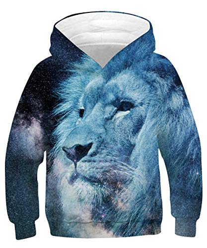 Rave on Friday Lion Sweatshirt Unisex 8-11 Funny 3D Printed Hoodie Galaxy Pullover Novelty Animal Pattern Long Sleeve Jumper for Boys Girls, Blue Lion, M