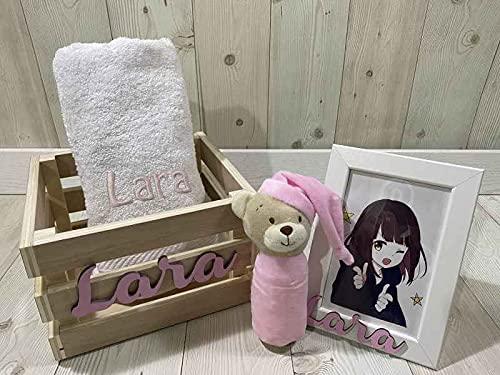 Caja canastilla bebé bordada y personalizada Neo (Rosa)