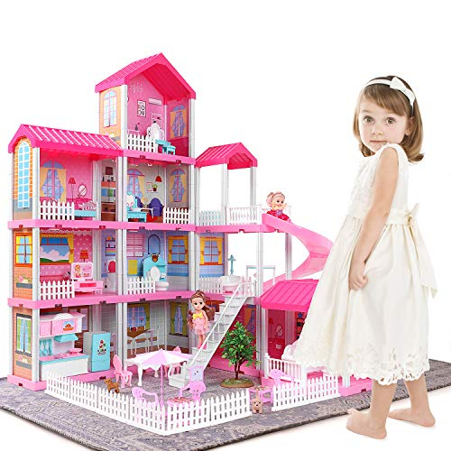 TEMI Dollhouse Dream House Toys for 3 4 5 6 7year Old Girls Building Toys Figure, Toddlers Playhouse Accessories and Furniture, DIY Cottage Pretend Play Doll House, Educational Learning Birthday Gift