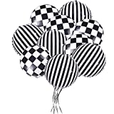 20 Pieces Checkered Racing Car Flag Party Balloons - Racing Car/Dirt Bike/Motocross Themed Party Decorations Supplies Black White Striped and lattice Balloons