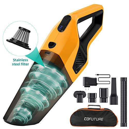 Cofuture-Handheld-Vacuum-Cordless-Cleaner, Powerful Hand Vacuum Cordless with Upgrade Motor,Rechargeable Lithium Battery,Washable Stainless Steel Filter for Home and Car Cleaning