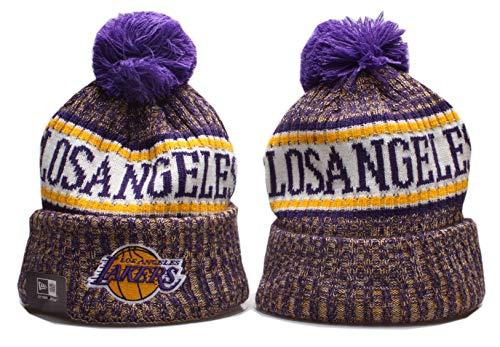Leydamm Fans Cap Sideline Sport Knit Winter Pom Knit Hat Cap Toque Cap for Gift (Los Angeles_Lakers) image