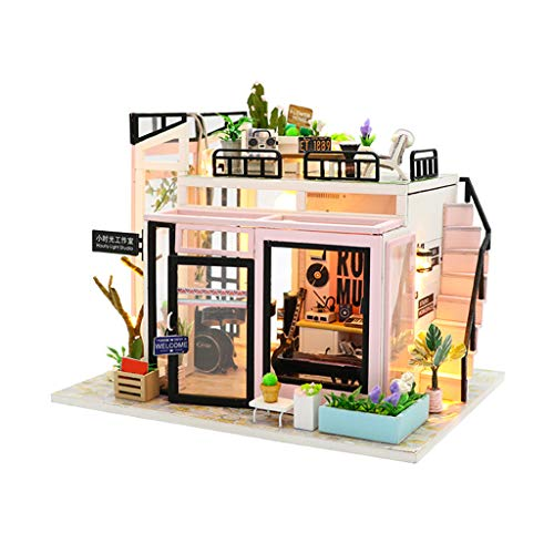 GBSELL DIY 3D Wooden Miniature Dollhouse Furniture Kit Home Decorations w/Furniture Accessories -for Toddler Girls and Kids Crafting Toy (A)