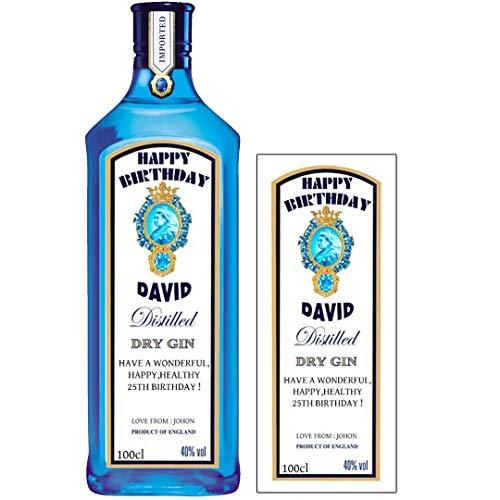 Etiqueta personalizada para botella de ginebra Bombay Zafiro para cumpleaños cualquier ocasión BL125