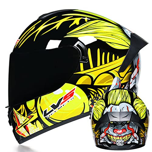 Casco integral de motocicleta Casco de motocross de doble visera para adultos para hombres y mujeres Aprobado por ECE Con tres opciones de lentes de color Casco,2,M 57~58cm
