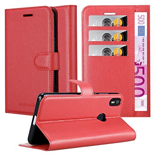Cadorabo Hülle für BQ Aquaris X in Karmin ROT – Handyhülle mit Magnetverschluss, Standfunktion & Kartenfach – Hülle Cover Schutzhülle Etui Tasche Book Klapp Style