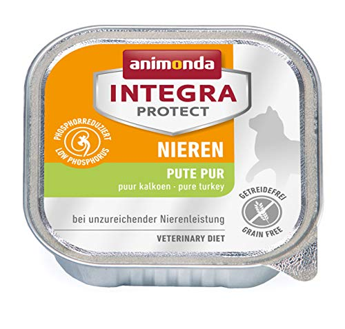 animonda Integra Protect Nieren Katzen, Nassfutter bei Niereninsuffizienz, Pute pur, 16 x 100 g