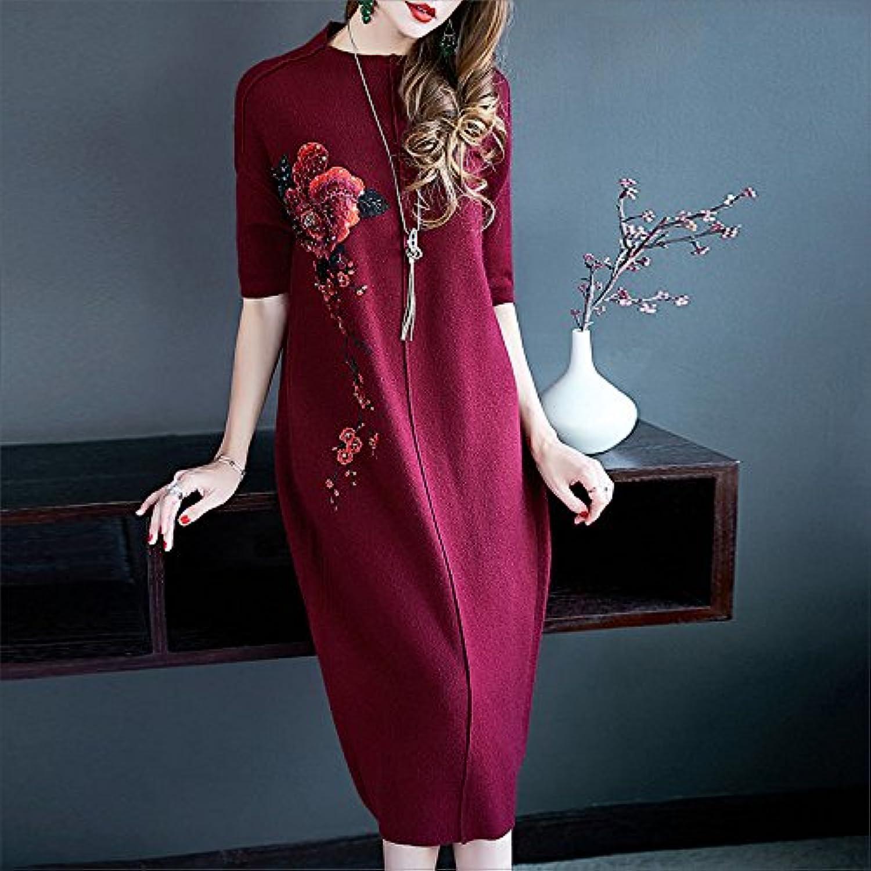 GX viele Frauen tragen lose und dünnen, Langen Besteickten Besteickten Besteickten strickte Kleider B078SNCYZW  Guter Markt 525cdc