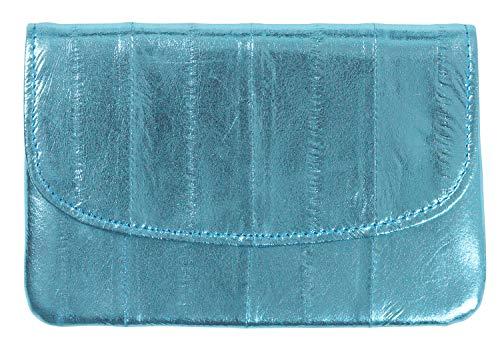 Becksöndergaard Damen Leder Kleingeld Geldbörse Handy Metallic Blau - Handlich klein für Geld & Karten - Weich & strapazierfähig - Dusty Blue - Größe 11x5 cm - 100002-071