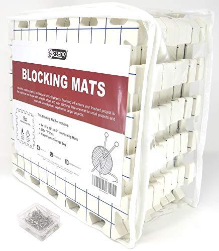 Eseno® 30,5 x 30,5 cm Blockiermatten zum Stricken, Nadelarbeiten oder Häkeln 9 Piece Set with 200 Pins