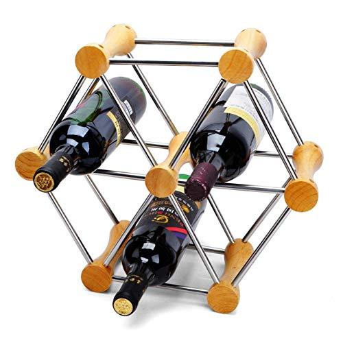 AWCPP Freestanding Wine Rack Wine Bottle Holder Wooden Ever-Changing Vino Tubo Steal Tube Estante de Vino Freestanding Soporte para la Decoración Del Hogar,Marrón