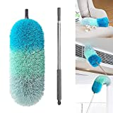 BOOMJOY Microfiber Telescoping Duster, 100' Extendable, Scratch-Resistant Cover, Stainless Steel Pole, Detachable Bendable Head, Washable, Green
