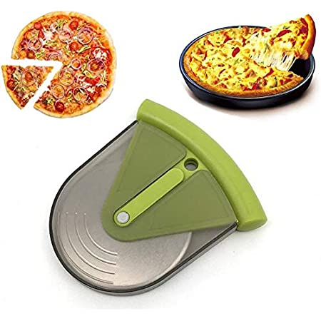 Professional Stainless Steel Pizza Cutter Pizza Cutter with Oak Handle and Blade Protective Cover Fast Clean Cutting