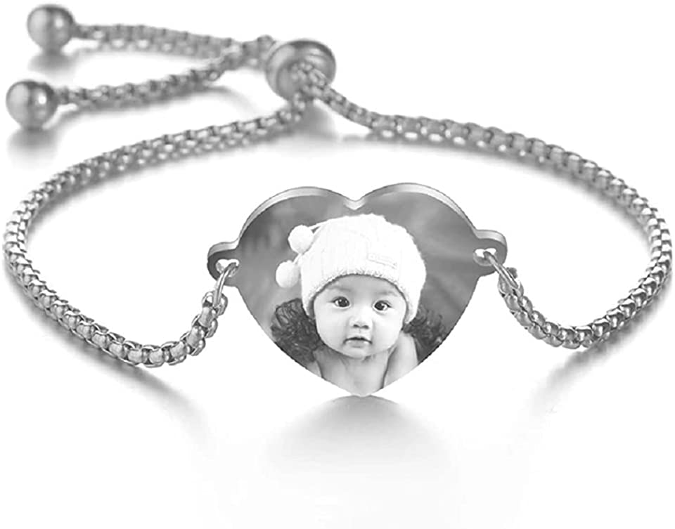 Personalized Photo Bracelet for Girls Engraved Names Heart Shaped Custom Initial Picture Pendant Adjustable Link Bracelet Mother Daughter Gift