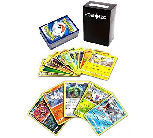 100 Pokemon Cards with 5 Holo Rares Bundled with Poshinzo Card Box