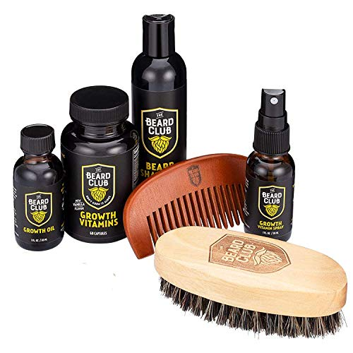 Advanced Beard Growth Kit | The Beard Club | Growth Vitamins, Beard Oil, Shampoo, Beard Spray, Comb, and Brush