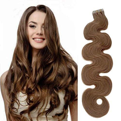 20pcs Tape in Hair Extensions Extensions de cheveux humains cendres brunes véritables extensions de cheveux humains 50g Adhésif souple résistant à la