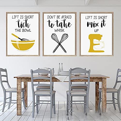 Amarillo Divertido Cocina Herramienta para revolver Cotizaciones Carteles e impresiones Batidor de huevos Arte de pared nórdico Pintura en lienzo Imágenes modulares Decoración | 40x50cmx3 Sin marco