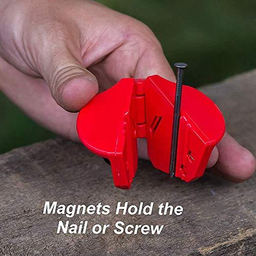 Nagelhalter zum Hämmern von Kunststoffklammern Anti-Smashing-Hand für mehrere Größen von Nägeln für Finish-Nägel, kleine Schrauben und Heftklammern (2 Stück)