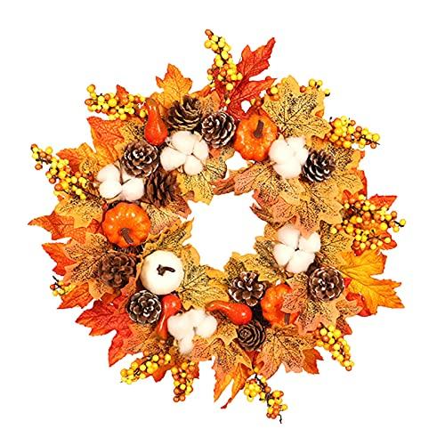 ZRSWV Artificial Fall Maple Leaf Pumpkin Wreath 17.7in Halloween Thanksgiving Wreath Harvest Door Garland with Cotton Berries Pine Cone Home Decor