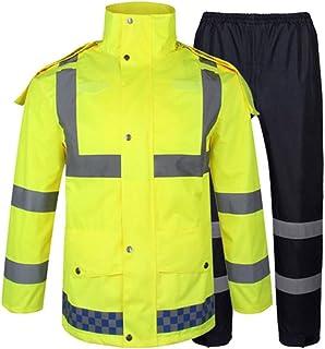 Unisex lluvia capa de la chaqueta Fluorescente amarillo reflectante impermeable reflexivo de la seguridad Ropa Advertencia...