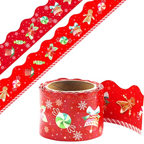 Christmas Red Border Two Sides Bulletin Board 36ft Holiday Border Trim Winter Themed Classroom Party Decor 1 Roll