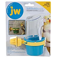 JW Pet Insight Clean Cup Feeder and Water Cup Birds Clear Plastic Shield Medium